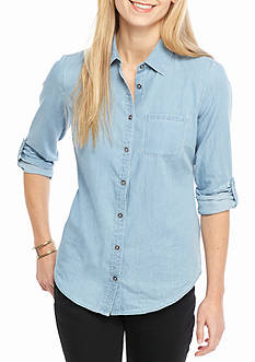 Kim Rogers Petite Rolled Sleeve Chambray Solid Woven Top