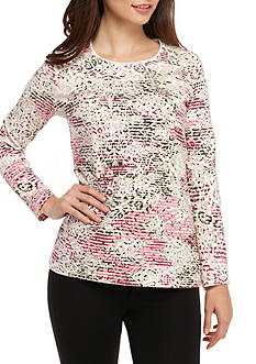 Kim Rogers Petite Three Quarter Sleeve Animal Print Scoop Neck Top