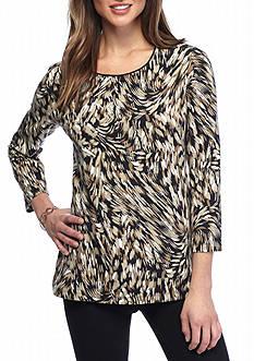 Kim Rogers Petite Three-quarter Sleeve Animal Swirl Knit Top