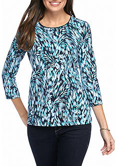 Kim Rogers Three-quarter Sleeve Animal Swirl Knit Top
