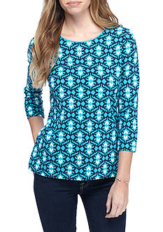 Kim Rogers Petite 3/4 Sleeve Brocade Shirt