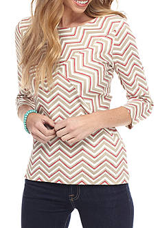 Kim Rogers Criss Cross Chevron Knit Top
