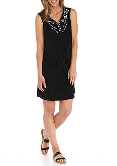 Kim Rogers Petite Size Sleeveless Embroidered Solid Dress