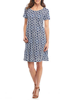 Kim Rogers Petite Short Sleeve Swing Printed Dress