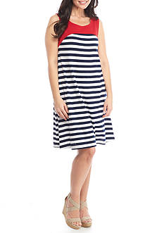 Kim Rogers Petite Sleeveless Swing Stripe Dress