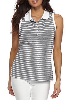 Kim Rogers Petite Sleeveless Stripe Polo Top