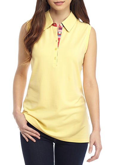 Kim Rogers® Petite Sleeveless Polo Solid Plaid Accented Shirt