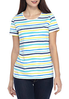 Kim Rogers Petite Size Short Sleeve Wave Stripe Knit Top