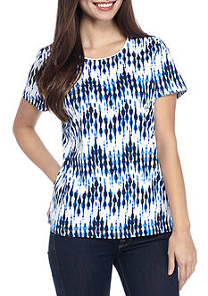 Kim Rogers Petite Short Sleeve Peak Chevron Top