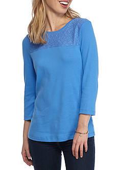 Kim Rogers Petite Size Yoke Lace Knit Top