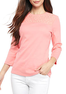 Kim Rogers® Petite Size Yoke Lace Knit Top