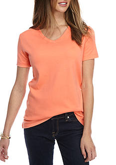 Kim Rogers Petite Short Sleeve Bio V-Neck Solid Top