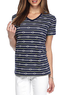 Kim Rogers Petite Short Sleeve V-Neck Rope Line Top