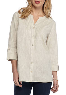 Kim Rogers Petite Size Linen Bib Solid Woven Top