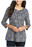 Kim Rogers® Petite 3/4 Sleeve Print Lace Up