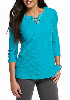 Kim Rogers® Three Quarter Length Fixed Lace Texture Top