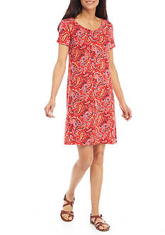 Kim Rogers Petite Size Short Sleeve Paisley Print Dress