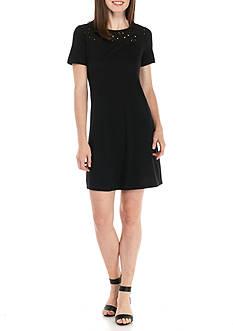 Kim Rogers Petite Short Sleeve Solid Swing Dress