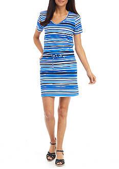 Kim Rogers Petite Size Short Sleeve Drawstring Stripe Dress