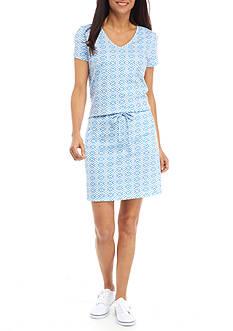 Kim Rogers Petite Size Drawstring Geometric Dress