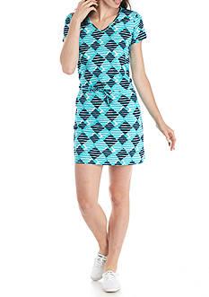 Kim Rogers Petite Printed Drawstring Waist Dress