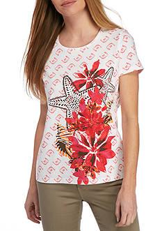 Kim Rogers Petite Size Short Sleeve Crew Neckline Floral Top