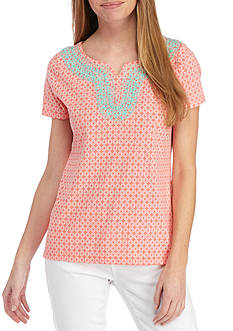 Kim Rogers® Women's Petite Split Neck Short Sleeve Top