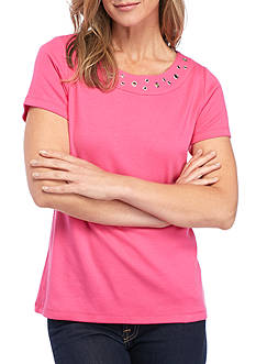 Kim Rogers Petite Short Sleeve Grommet Scoop Neck Tee