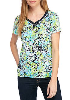 Kim Rogers Petite Size Sweetheart Neckline Floral Top