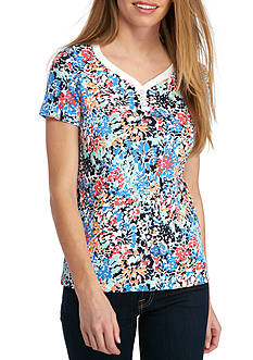 Kim Rogers® Petite Size Sweetheart Neckline Floral Top
