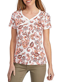 Kim Rogers® Petite Size Sweetheart Neckline Floral Dance Top