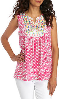 Kim Rogers® Petite Size Sleeveless Embroidered Yoke Knit Top
