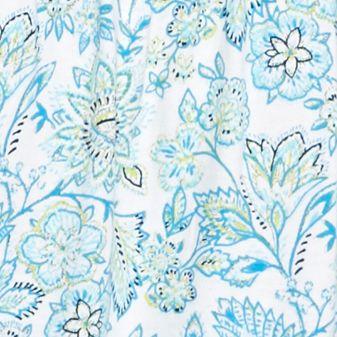 Kim Rogers Petites Sale: Turquoise Combo Kim Rogers Petite Floral Border Print Peasant Top