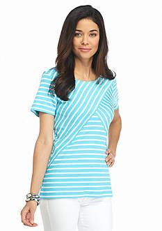 Kim Rogers Petite Stripe Splice Top