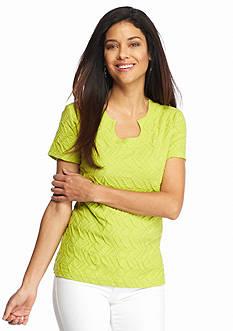 Kim Rogers Petite Short Sleeve Horseshoe Neck Top