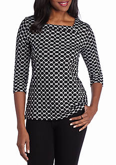 Kim Rogers Square Neck Printed Jacquard Top