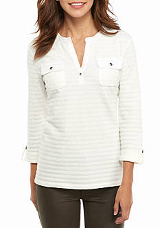 Kim Rogers Textured Henley Pocketed Knit Top