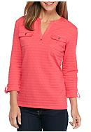Kim Rogers® Textured Henley Pocketed Knit Top