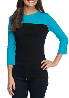 Kim Rogers® Three Quarter Sleeve Ribbed ColorblockTop