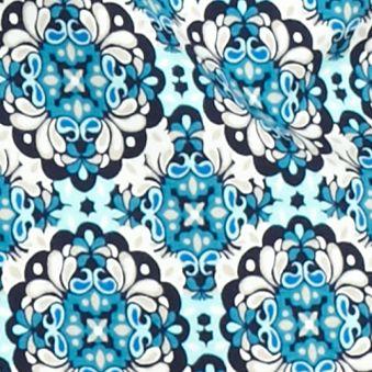 Kim Rogers Women Sale: Turquoise/Navy Kim Rogers 3/4 Sleeve Medallion Print Top