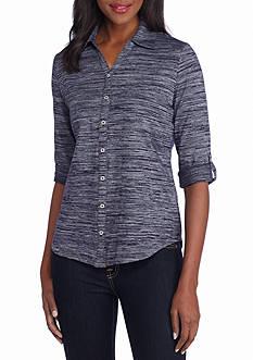 Kim Rogers Roll Sleeve Novelty Top