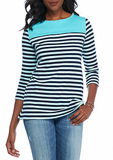 Kim Rogers Colorblock Boat Neck Knit Top