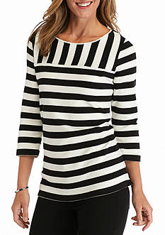 Kim Rogers Colorblock Boatneck Knit Top