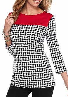 Kim Rogers Boat Neck Houndstooth Colorblock Knit Top