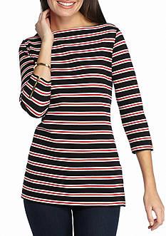 Kim Rogers Three-Quarter Sleeve Boat Neck Stripe Tunic