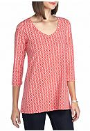 Kim Rogers® Three-Quarter Sleeve V-Neck Swing