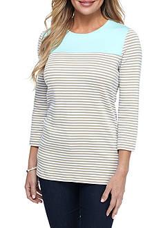 Kim Rogers Three Quarter Sleeve Striped Shirt