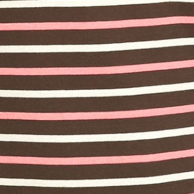 Women: Tees Sale: Brown Kim Rogers 3/4 Ribbed Striped Top