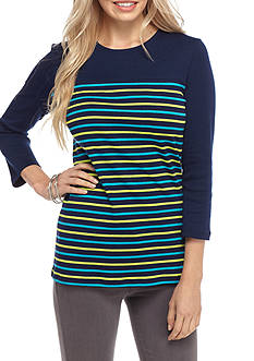 Kim Rogers 3/4 Ribbed Striped Top