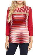 Kim Rogers® Three-Quarter Sleeve Rib Top